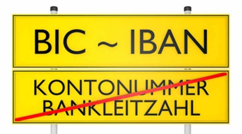 SEPA-Umstellung: BIC und IBAN ersetzen Kontonummer und BLZ (Darstellung in Form eines Strassenschildes)