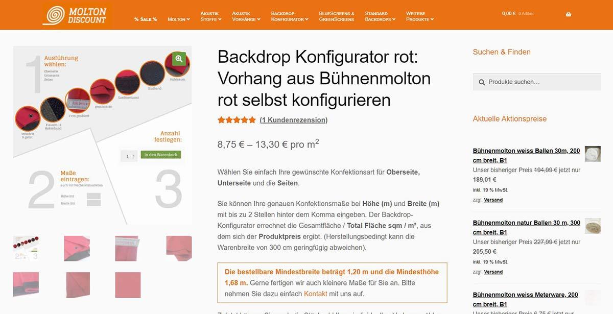 Moltondiscount Backdrop-Konfigurator Produktdetail-Seite