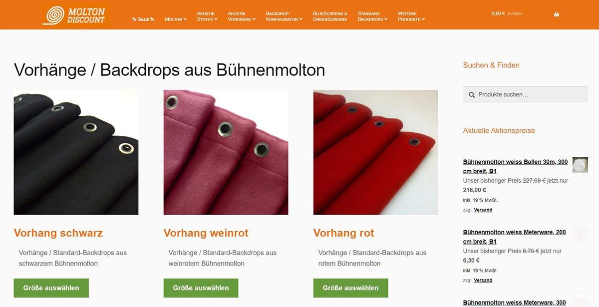 Moltondiscount Backdrops Produktübersicht